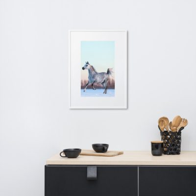 A white Arabian canters in snow- Matte Paper Framed Poster With Mat
