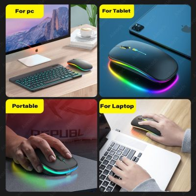 Backlight Wireless USB Mouse Bluetooth-compatible Mice For PC Computer Laptop Tablet Phone Rechargeable Silent Ergonomic Mouse